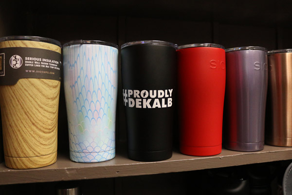 travel mugs on display at SOAS