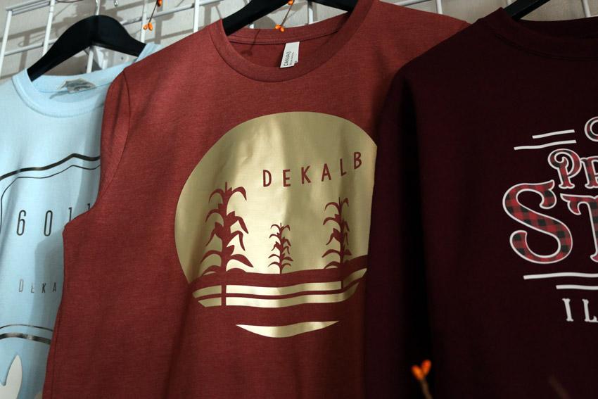 Illinois and DeKalb shirts on display